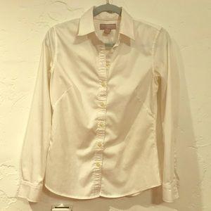 Banana republic white button down shirt size 4